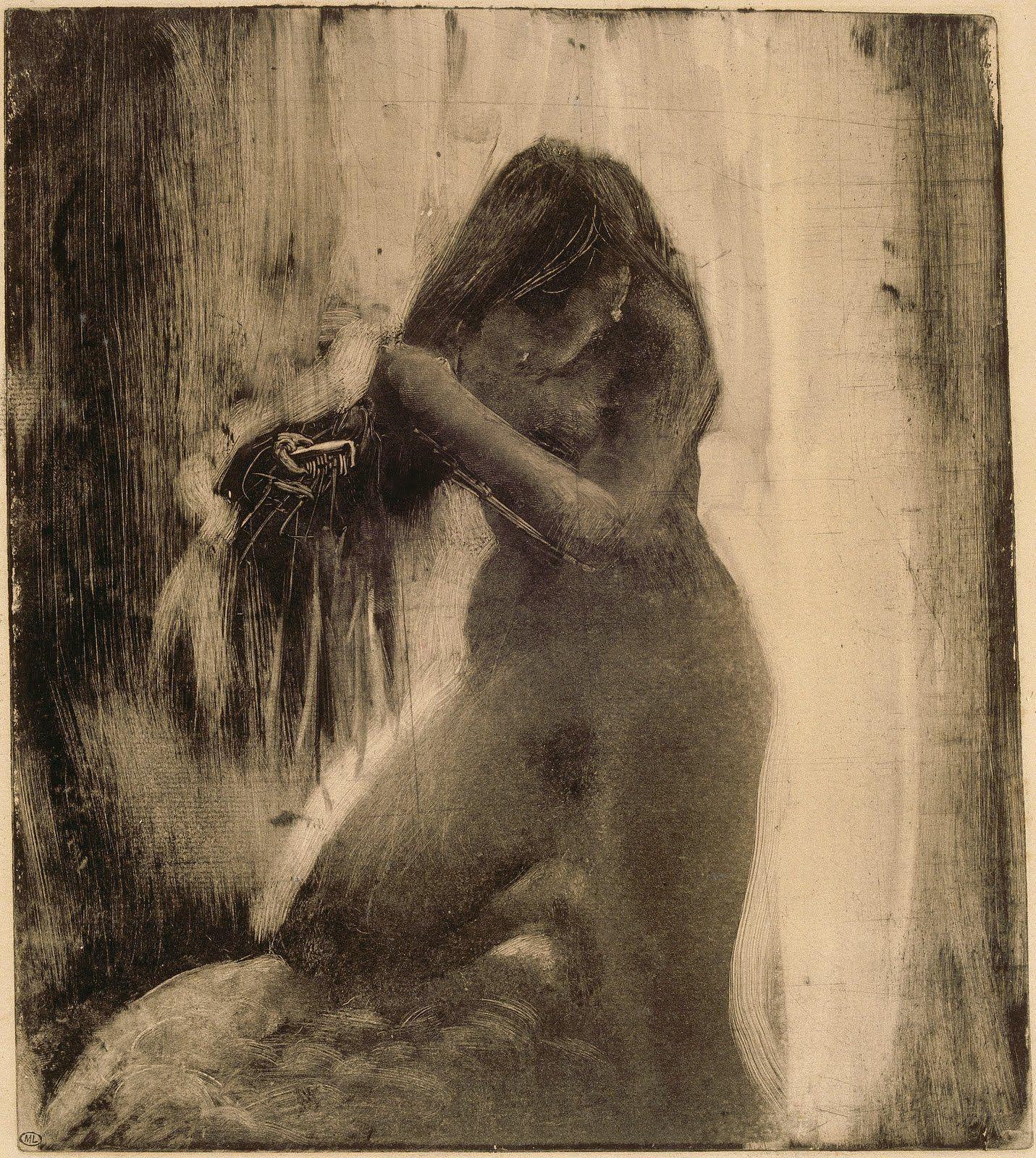 combing Degas hair woman her