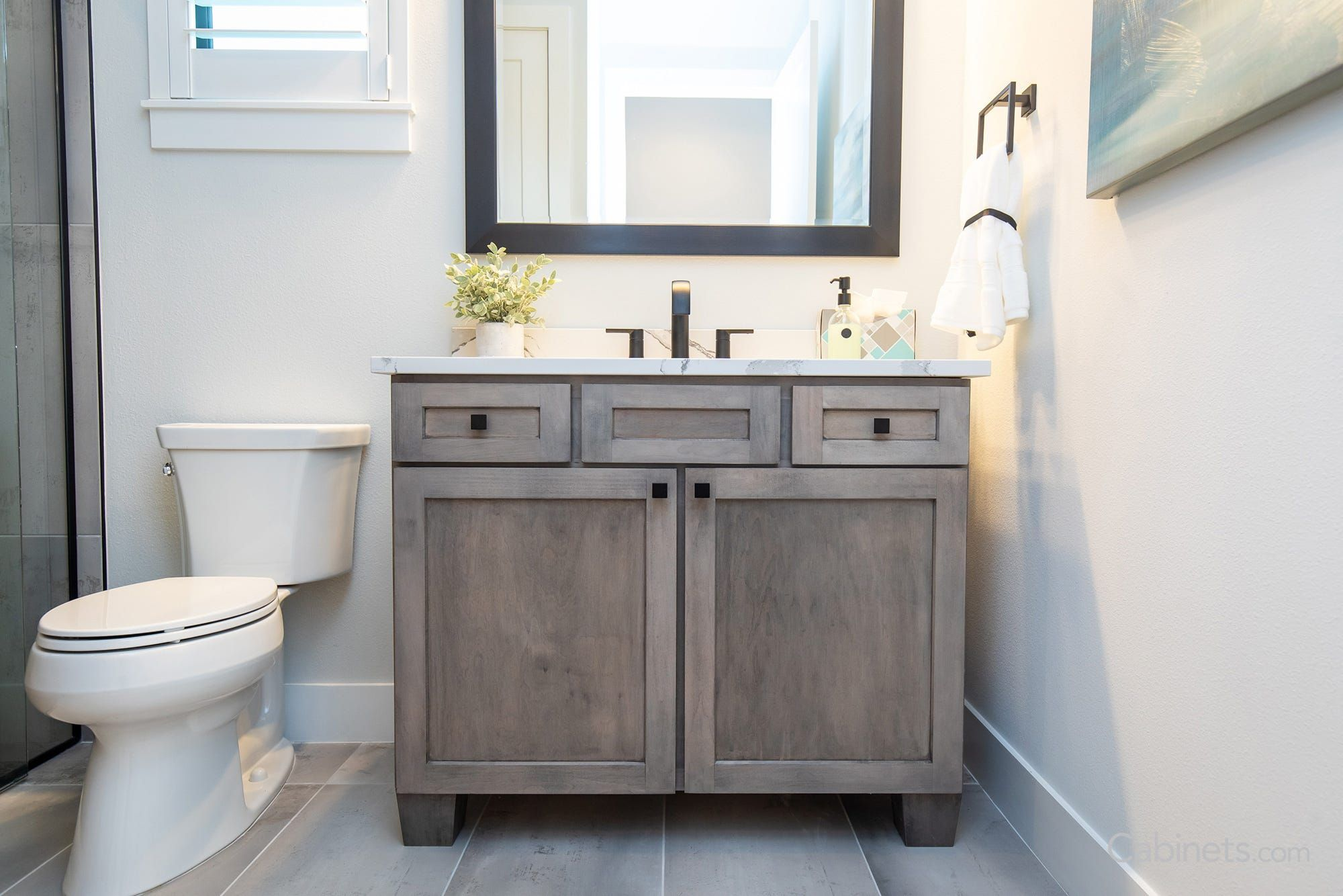 Furniture Style Vanity With Gray Stained Shaker Cabinets And Bunn Feet Cabinets Com Shaker Cabinets Gray Stained Cabinets Grey Stained Cabinets