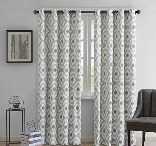 1 Piece Grey Geometric Ikat Pattern Window Curtain 84 Inch Single