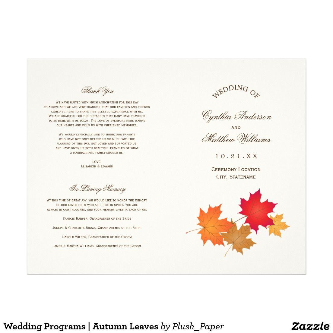 "Wedding Programs | Autumn Leaves 8.5"" X 11"" Flyer"