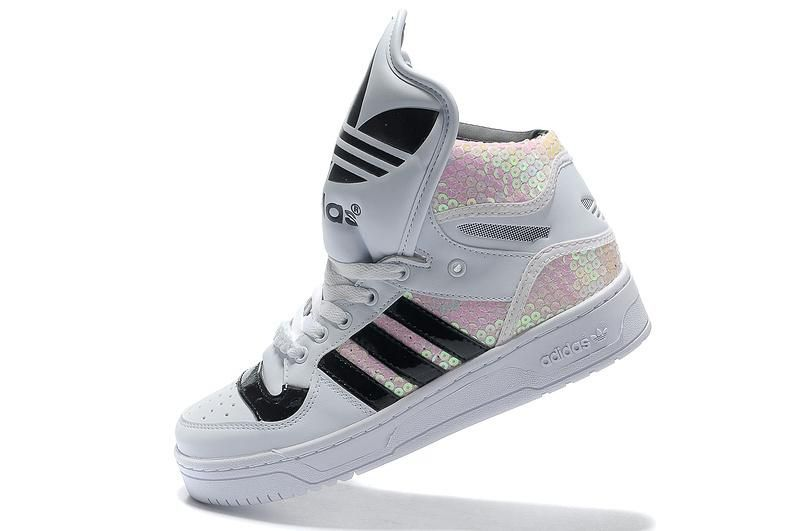 save off fc7fe 1f755 Adidas High Tops for Girls   Adidas High Tops Big Tongue White Black  Rainbow for Women  Adidas High .