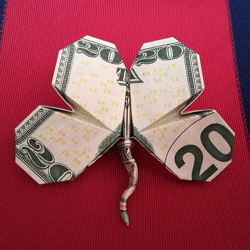 Origami Dollar Four Leaf CLOVER Lucky Charm Real $2 Bill Money Shamrock Decor