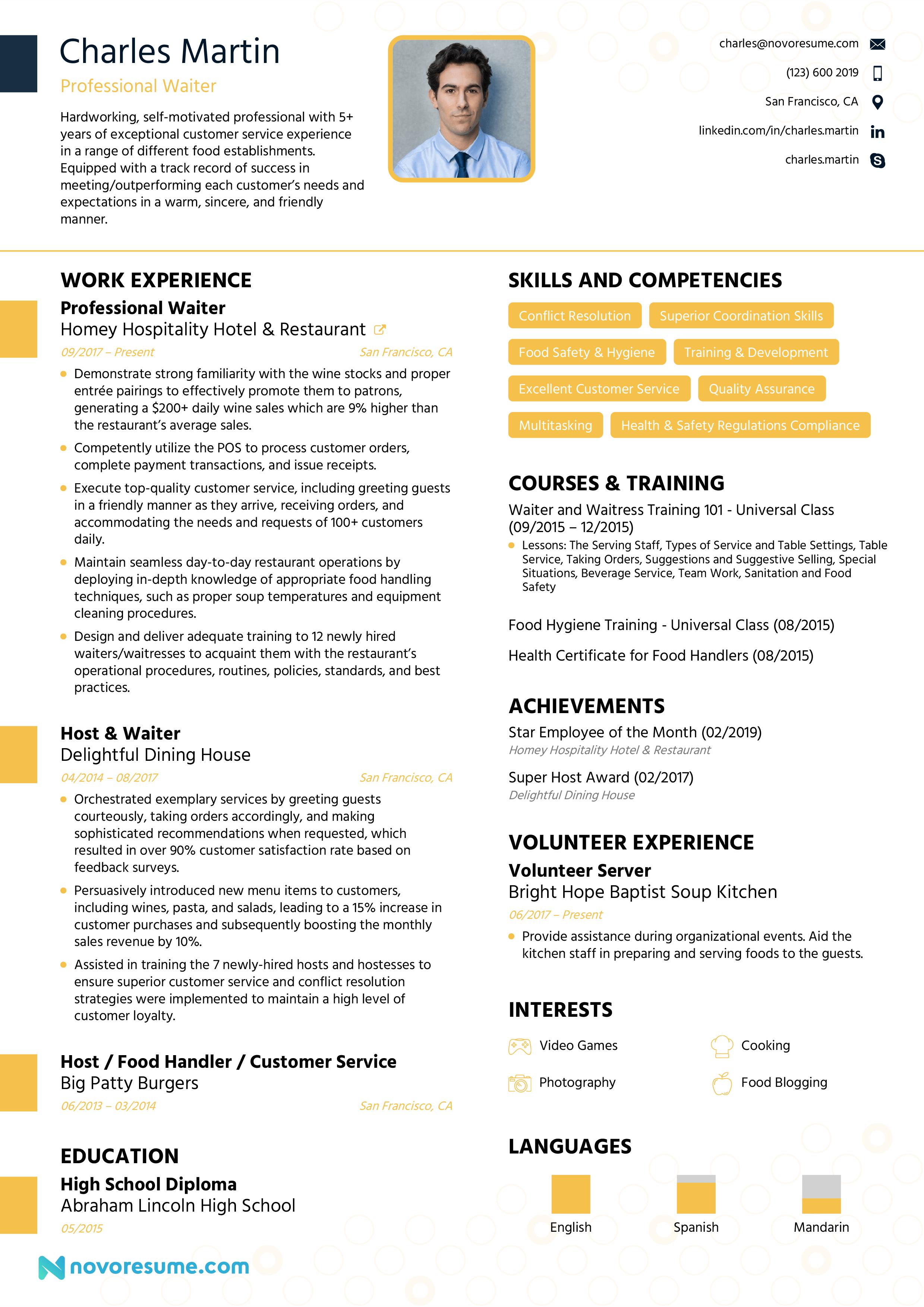 Professional Waiter Waitress Modern Resume Example Resume Examples Professional Resume Writing Service Resume Skills