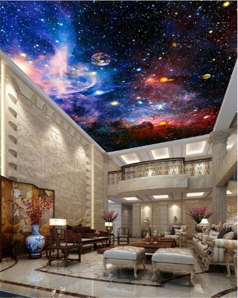 Space Galaxy Nebula Full Wall Ceiling Mural Photo Wallpaper Print Home 3d Decal Ceiling Murals Wallpaper Ceiling Decal Wall Art