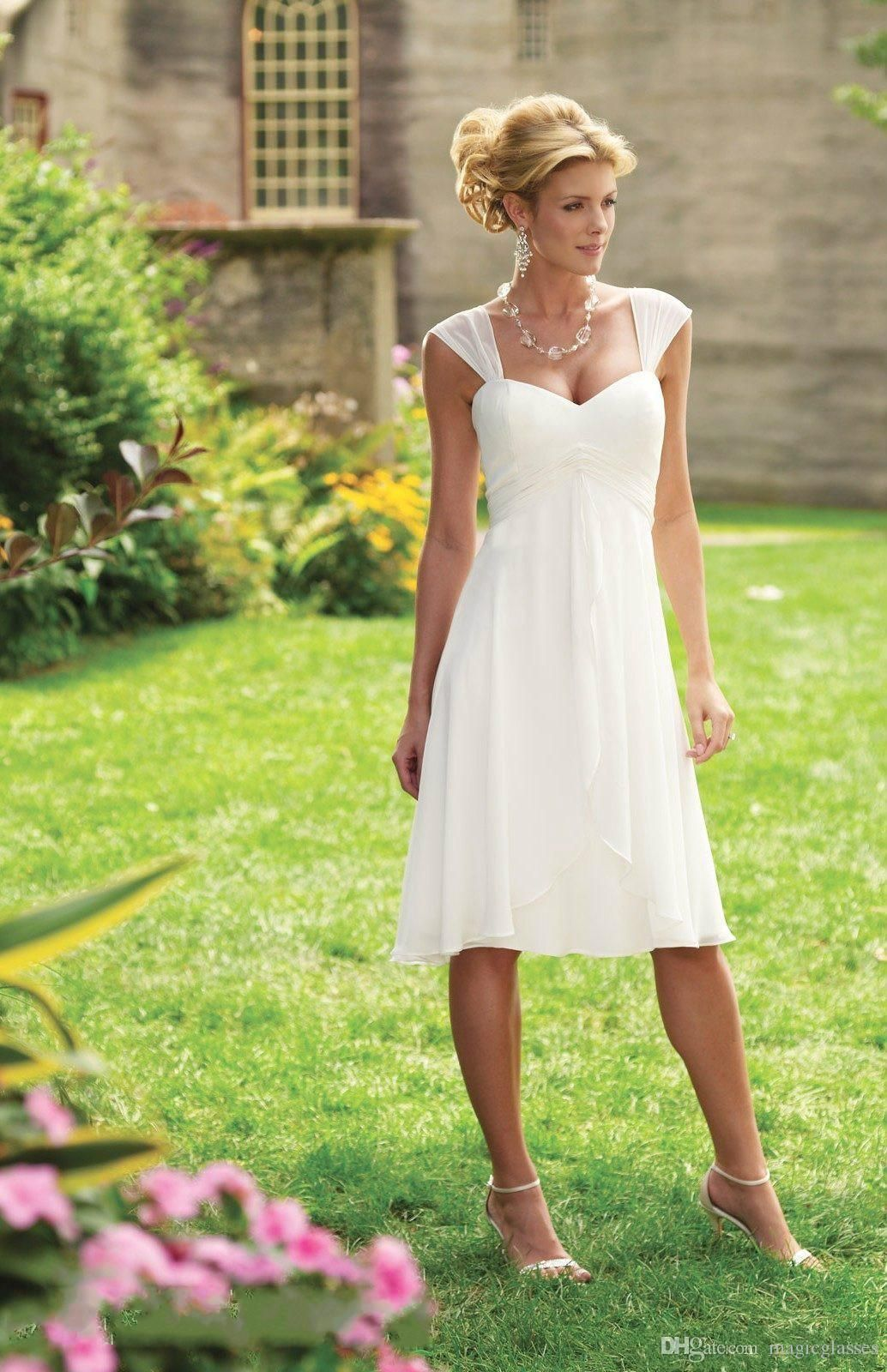 Discount Simple Cheap Tea Length Wedding Dresses Cap