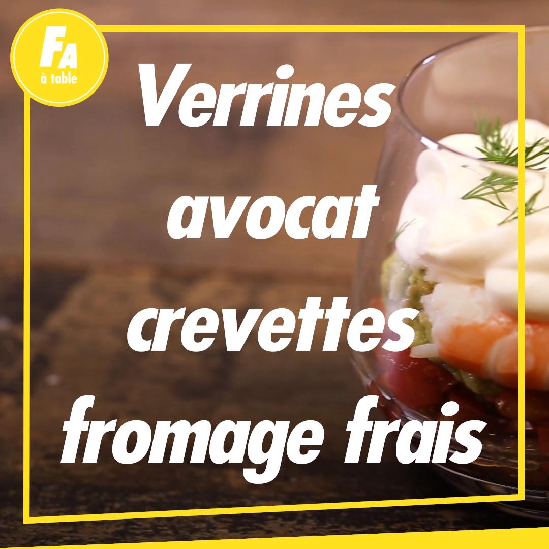 La recette de la verrine avocat-crevette-fromage frais