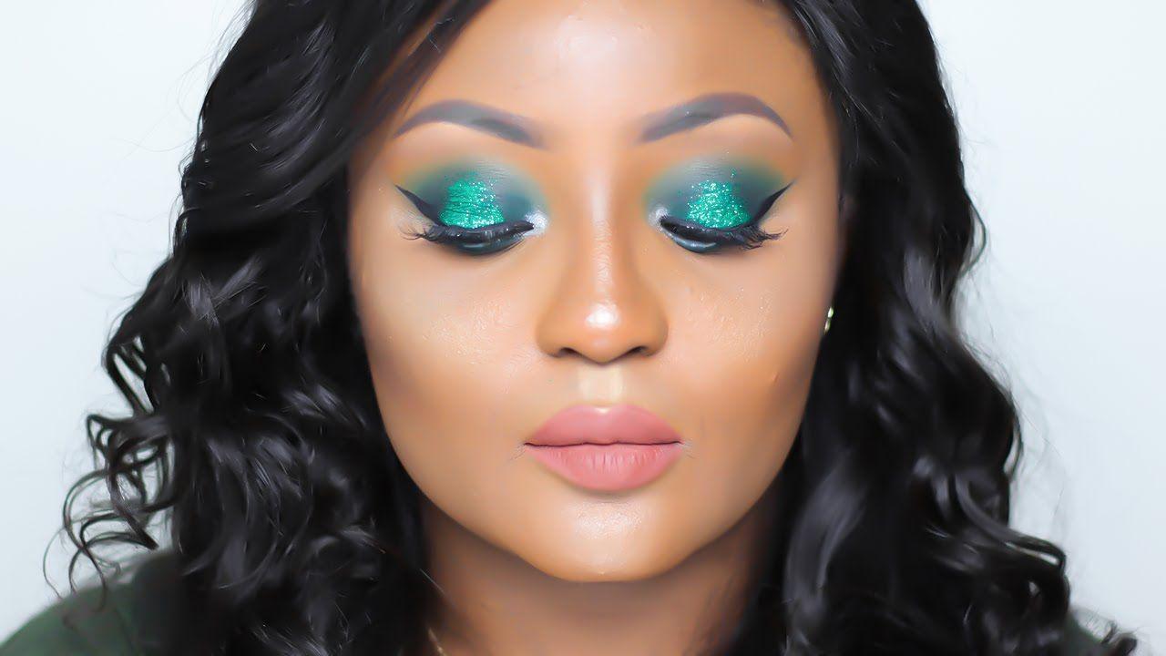 Green Glitter Makeup Tutorial Nigerian Independence Day Inspired You Glitter Makeup Tutorial Glitter Makeup Makeup