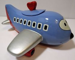 Southwest Airlines Airplane Cookie Jar Canister Collectible Blue Red Rare