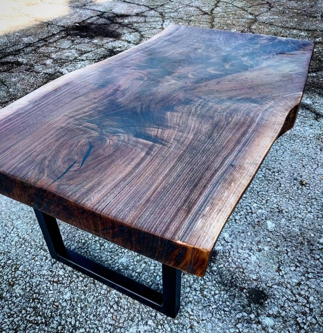 Mid Century Walnut Live Edge Coffee Table: Chunky Live Edge Walnut Slab Coffee Table By