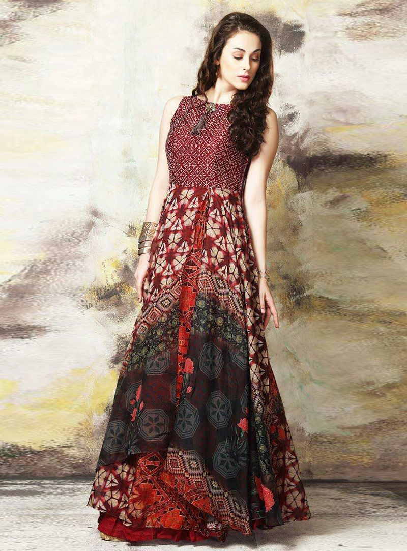 Maroon Cotton Readymade Printed Gown 139897 Long Kurti Designs Printed Gowns Fashion