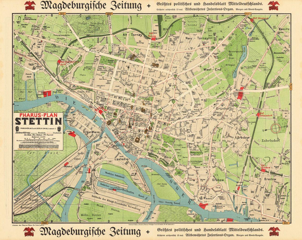 PharusPlan Stettin Pharus Verlag Berlin 191015 Lithographie hand