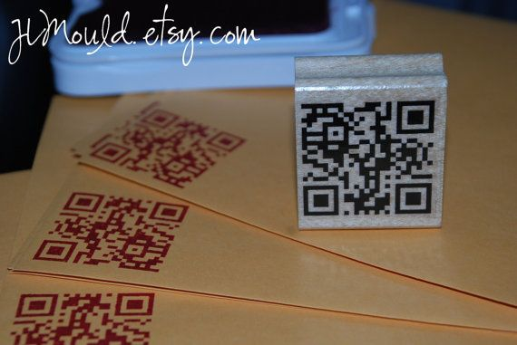 Smaller Size 1x1 Custom Red Rubber Stamp etsy business include your QR two dimensional barcode 0160 (red rubber stamp wooden block)