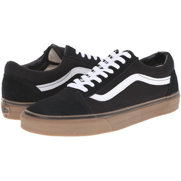 c52f7f0d168 Vans Old Skool ((Gumsole) Black Medium Gum) Skate Shoes ( 40) ❤ liked on  Polyvore featuring shoes