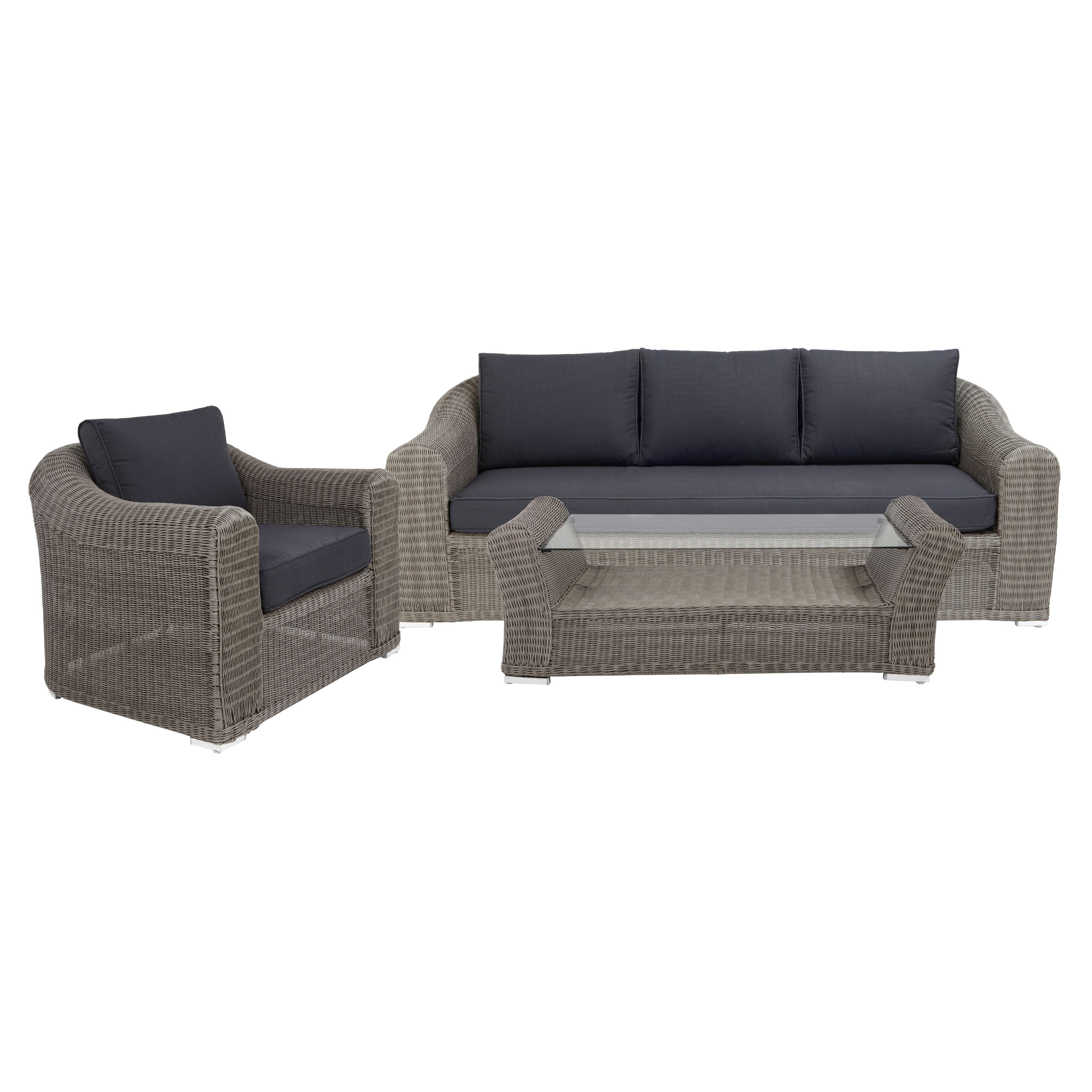 Comoro Rattan Effect 3 Seater Coffee Set Rooms Diy At B Q Seater Coffee Set Outdoor Sectional Sofa