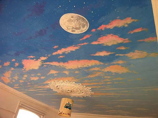 Day night sky ceiling painting dream home pinterest for Ceiling mural sky