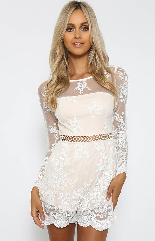 942249101147 Wild Flower Playsuit - White from peppermayo.com