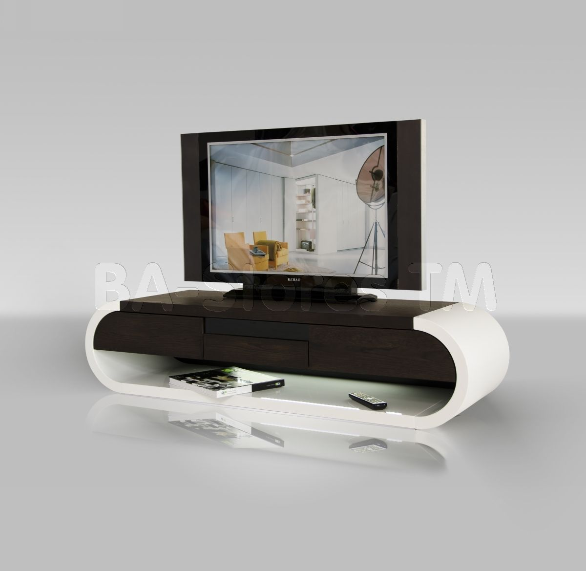 Modern Two Tone Tv Entertainment Unit With Glossy White Rounded