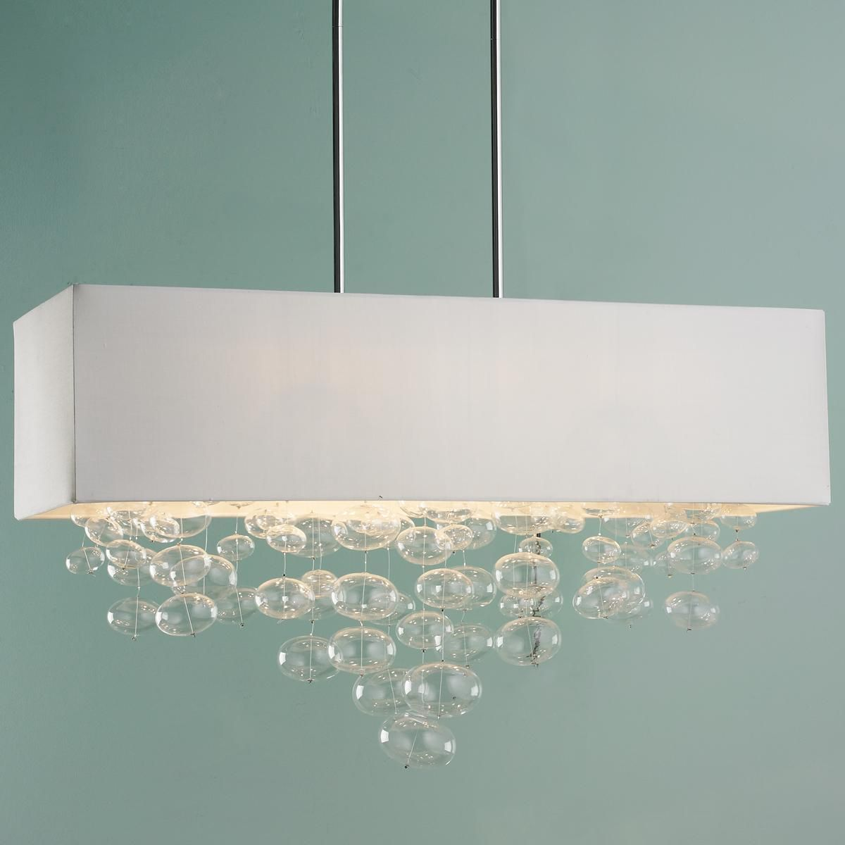 Hand blown clear glass ornaments - Rectangle Shade And Glass Bubbles Island Chandelier