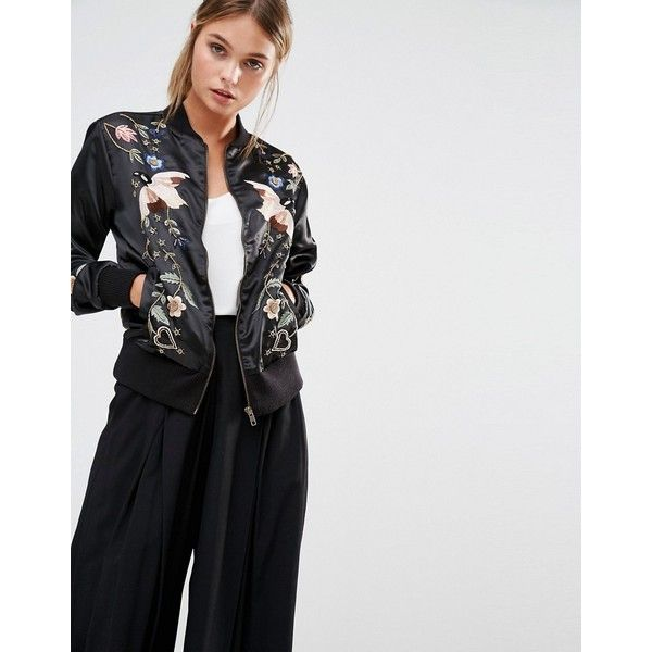 Frock and Frill Embroidered Embellished Bomber Jacket (£145) ❤ liked on Polyvore featuring outerwear, jackets, black, frock and frill, zip jacket, embroidered bomber jacket, pocket jacket and flight jacket