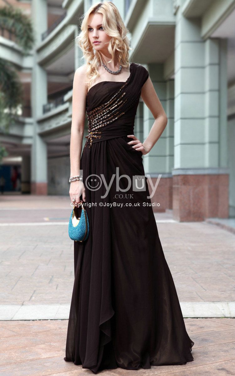 One Shoulder Handmade Beading Chiffon Chocolate Prom Gowns Fast Shipping