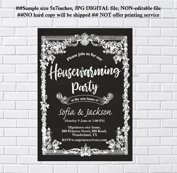 Housewarming Invitation Bbq Invite New Home Weve Moved Chalkboard Blackboard Vintage Frame