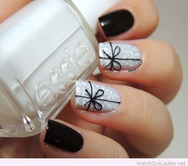 Black And Grey Christmas Nails