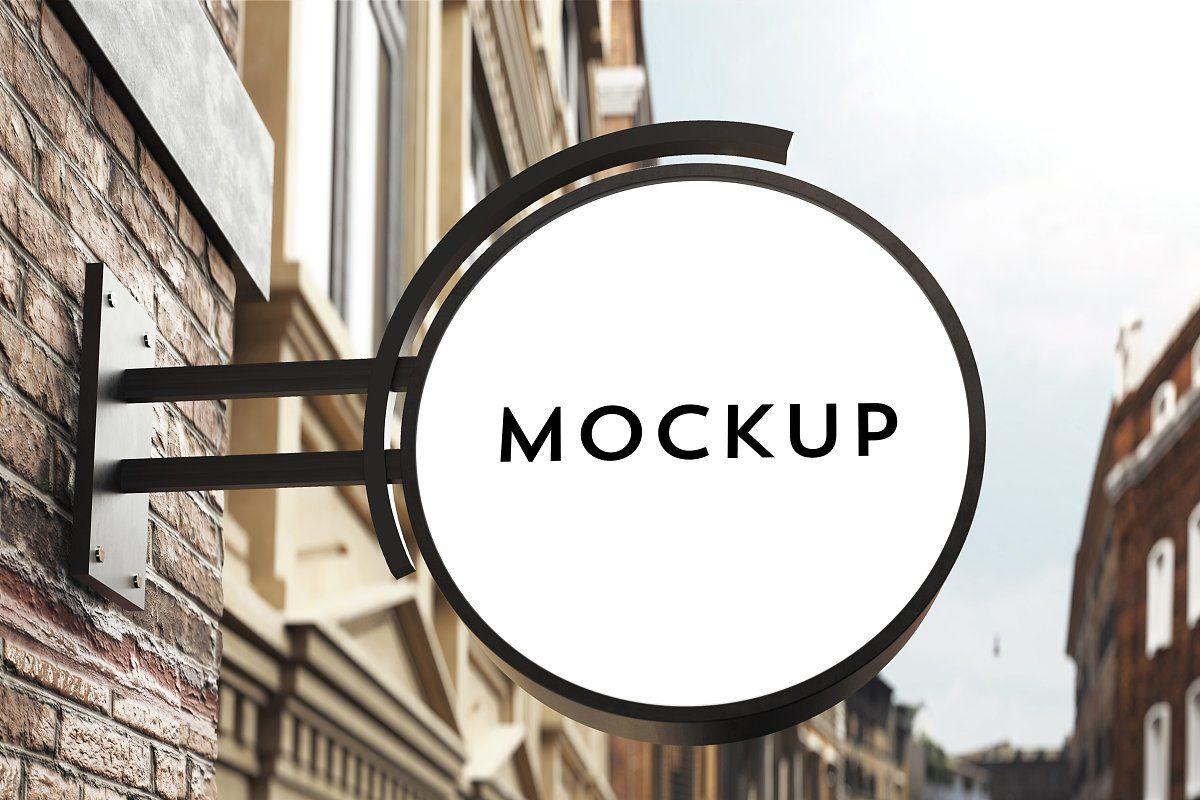 Download Signboard Mockup Signboard Neon Box Signage Design