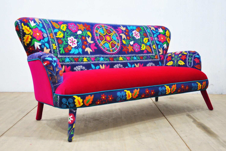 Suzani 3-seater sofa - deep blue by namedesignstudio on Etsy https://www.etsy.com/listing/472619114/suzani-3-seater-sofa-deep-blue