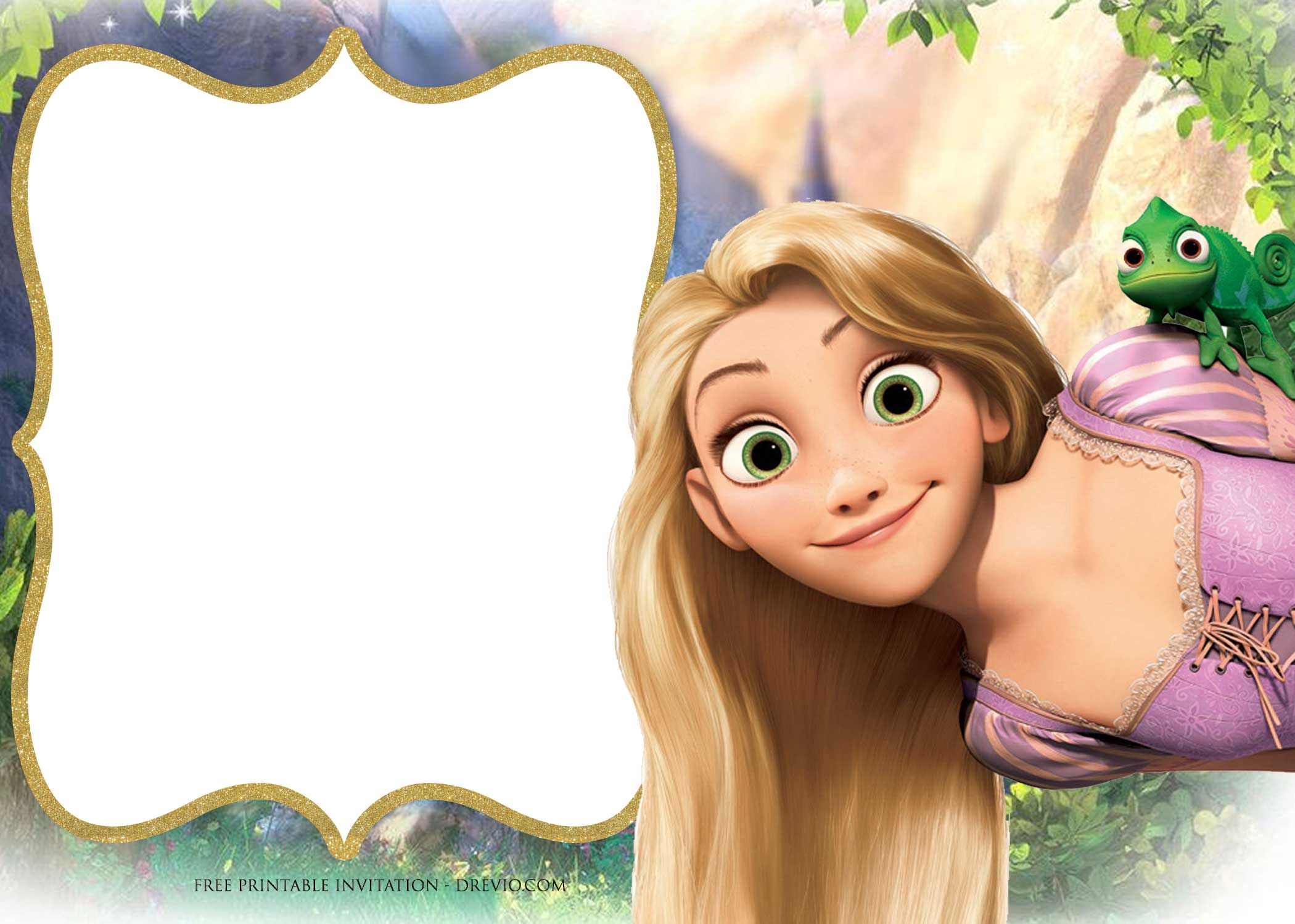 Download Now FREE Printable Princess Rapunzel Invitation Templates