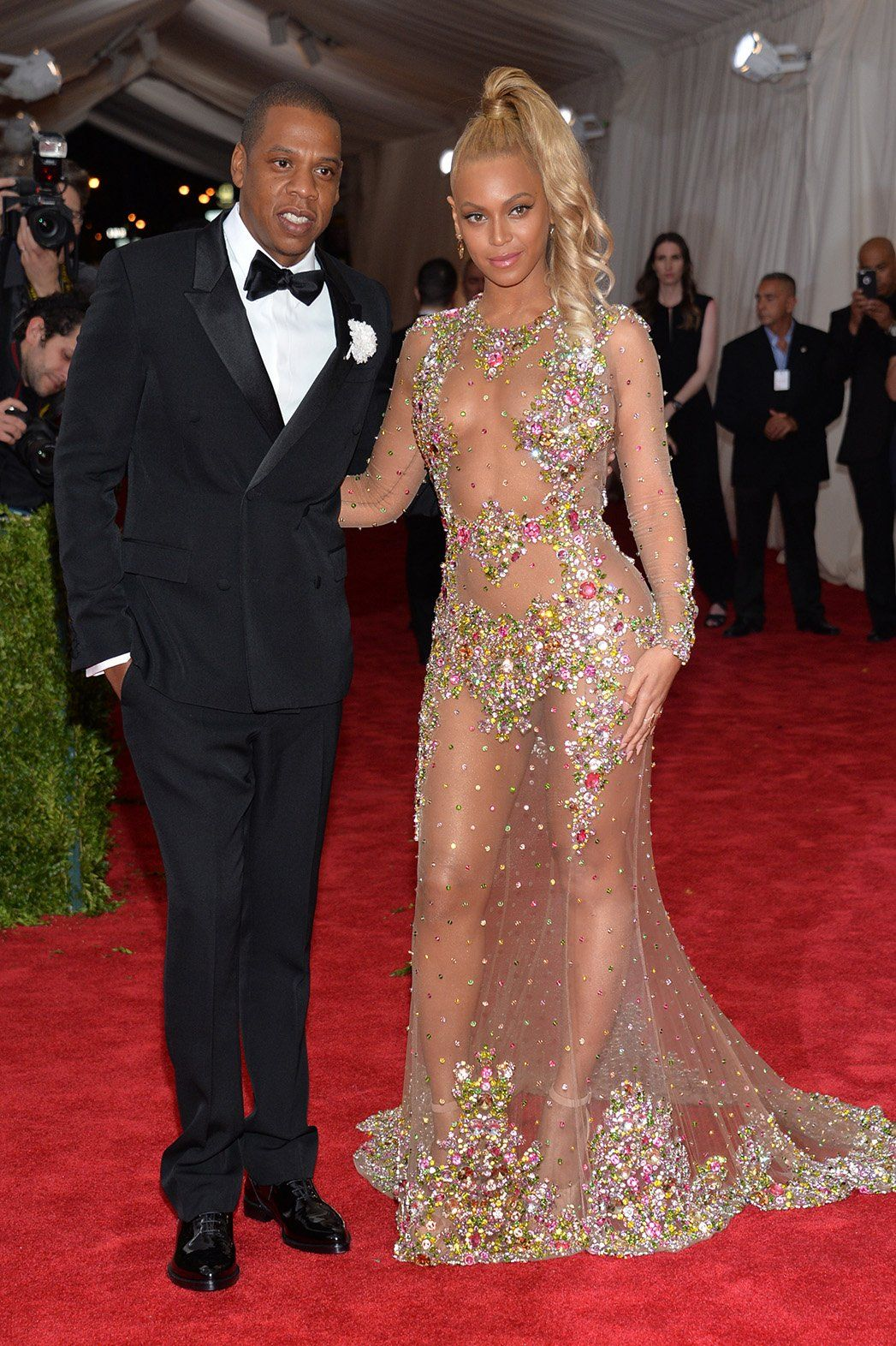 Jay Z and Beyonce (in custom Givenchy) made a stunning entrance at Monday's gala