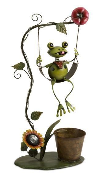 Felix solar light swinging frog planter felix the frog - Grandes jardinieres exterieures ...