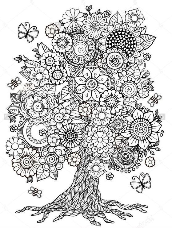 Beautiful Flower Tree Coloring Page Coloring Books Coloring Pages