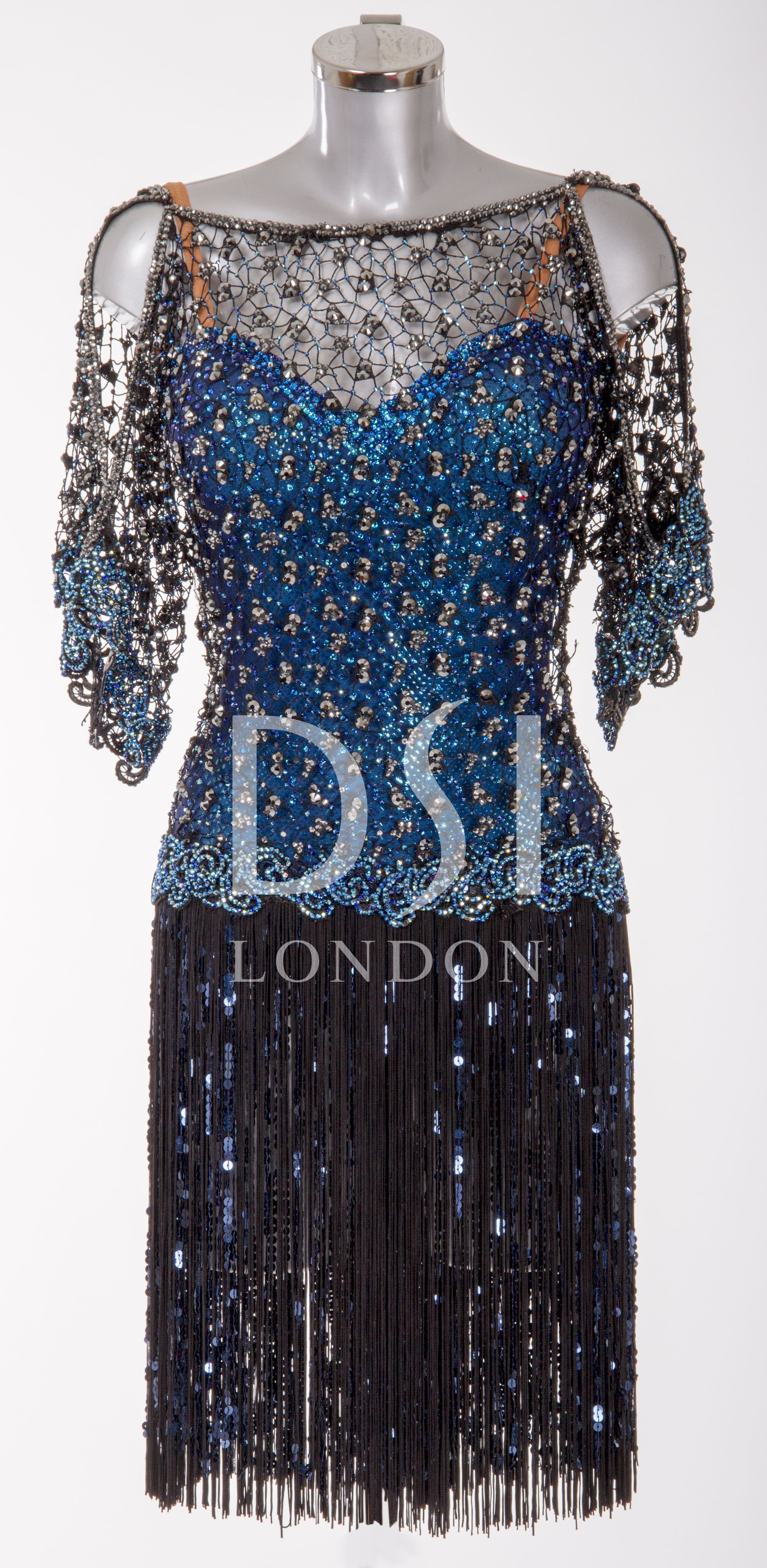 e28759753546 Black and Blue Latin Dress as worn by Natalie Lowe on Strictly Come Dancing  2014. Designed by Vicky Gill and produced by DSI London.