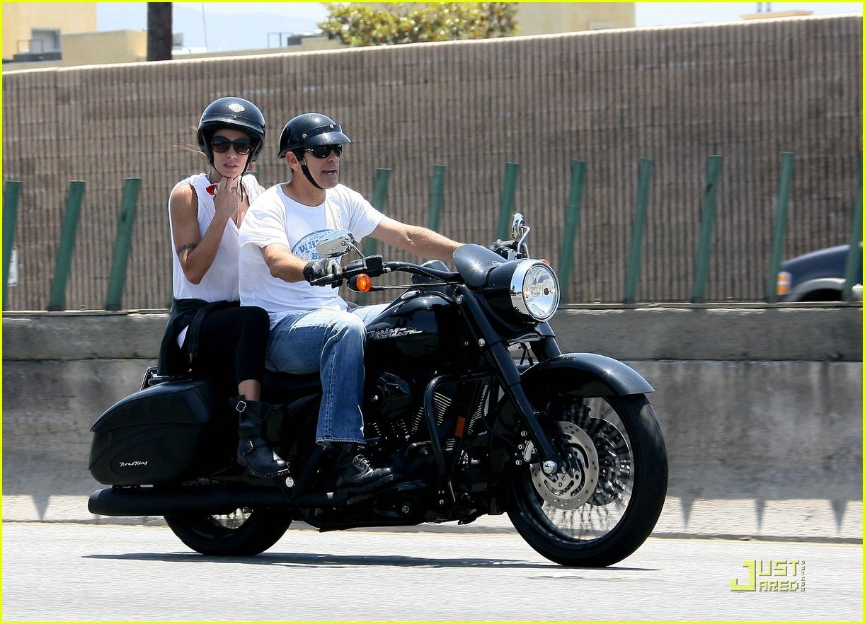 George Clooney Elisabetta Canalis on Motorcycle Cruise