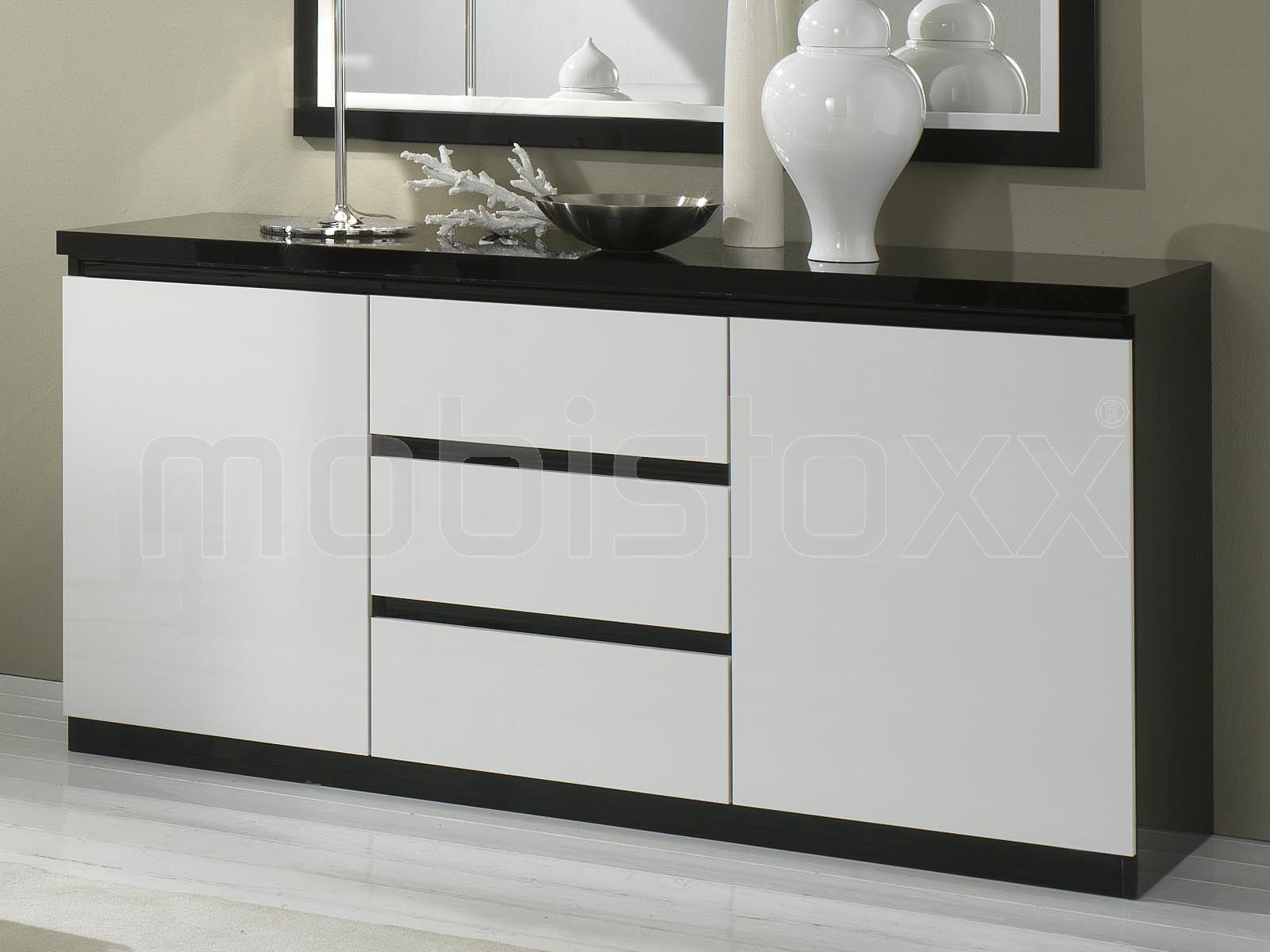 Buffet/bahut ROMEO 2 portes et 3 tiroirs noir laque/blanc laque 1 ...
