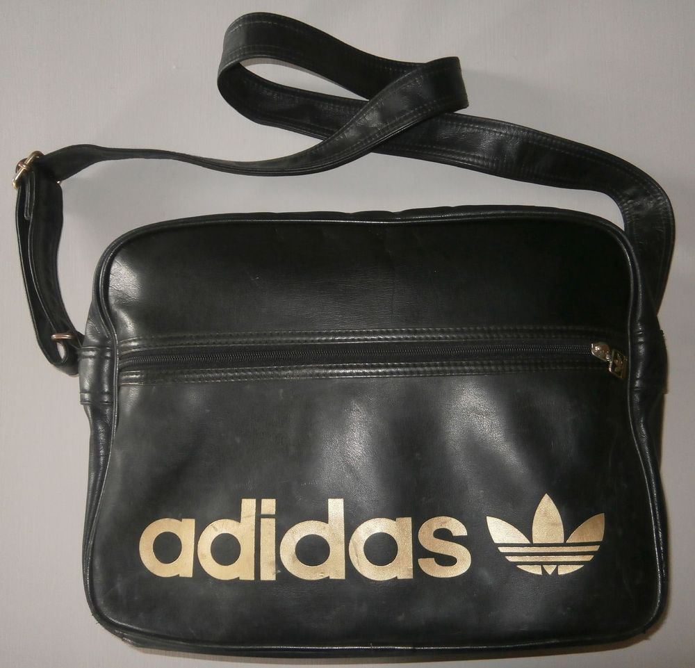 a3ed9a6a47 ADIDAS ORIGINALS BLACK GOLD AIRLINE MESSENGER BAG TRAVEL SCHOOL COLLEGE   fashion  bags