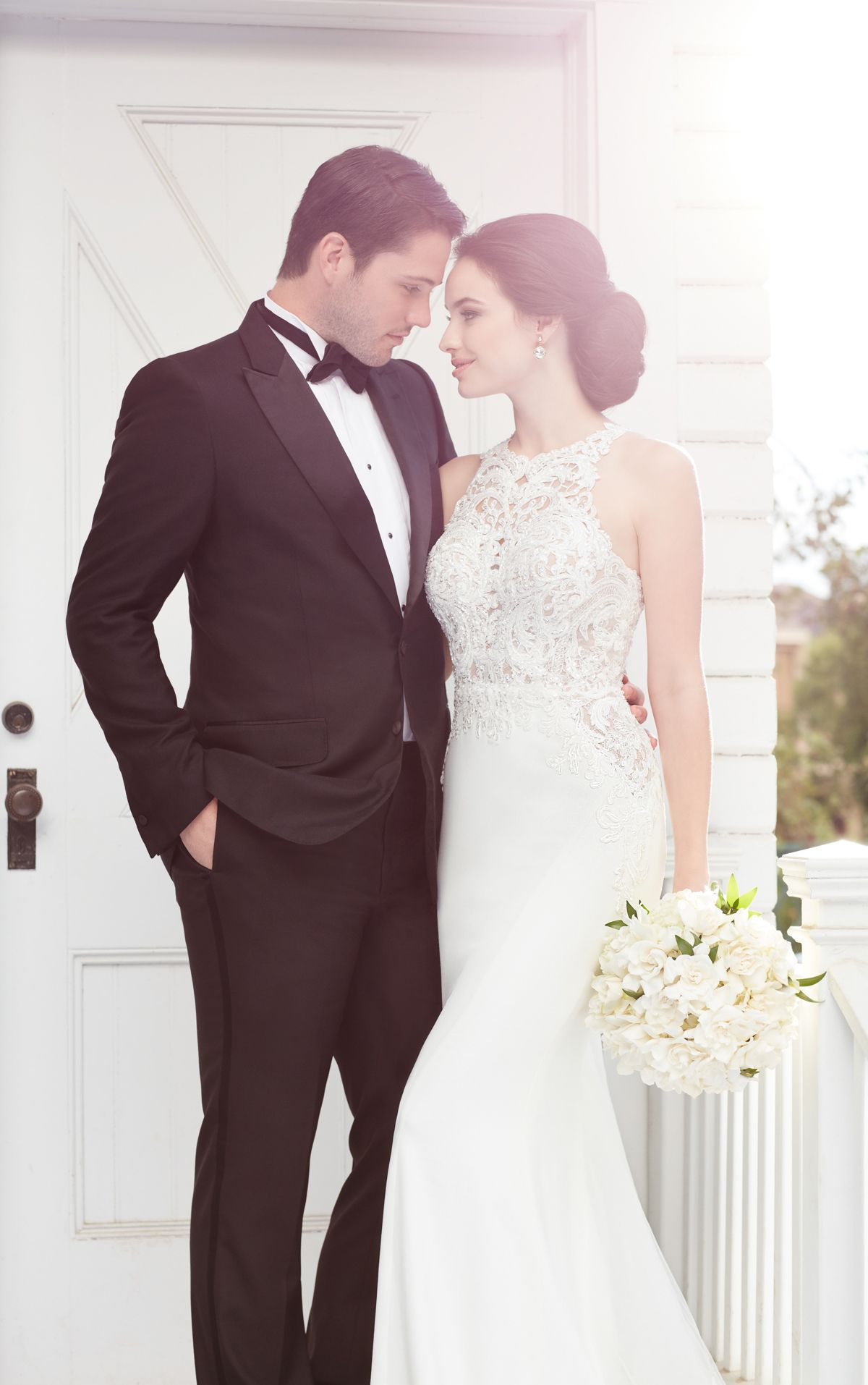 Illusion racerback wedding dress with high neck pinterest