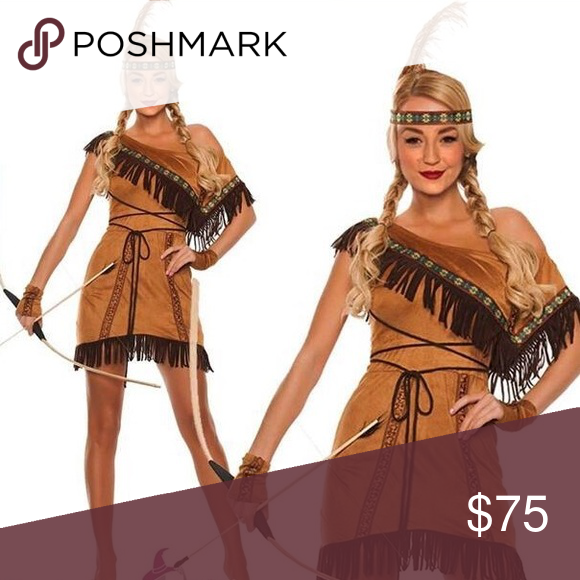 Adult Native American Indian Pocahontas Fancy Dress Western Party Costume Outfit