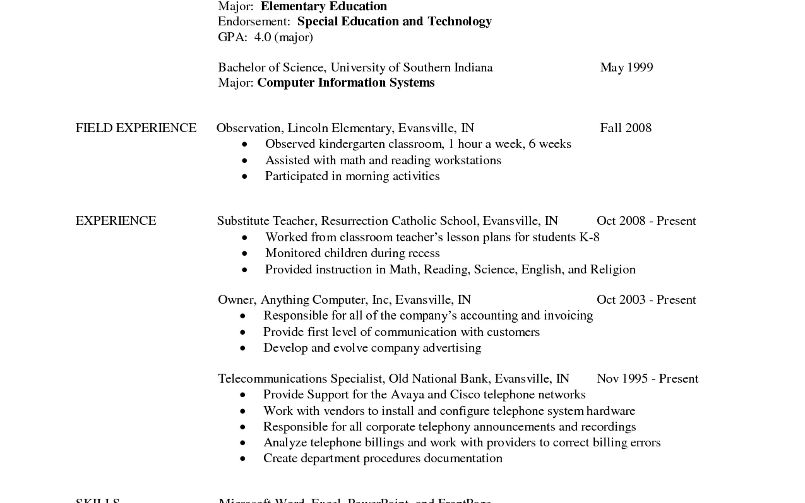 Resume Elementary School Teacher Samples Cover Letter Fair Format