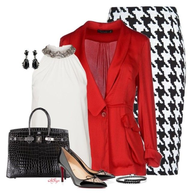 """""""Red, White and Houndstooth Contest"""" by kginger ❤ liked on Polyvore featuring MANGO, Twin-Set, Vero Moda, Hermès, Christian Louboutin, Alexis Bittar and C. Wonder"""