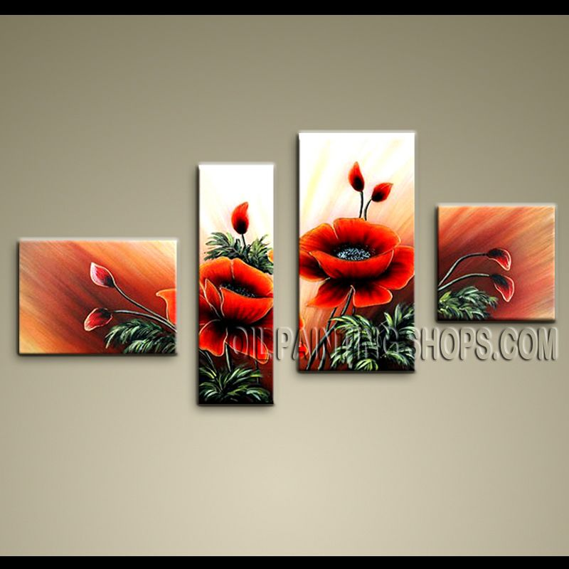 Tetraptych contemporary wall art floral painting poppy flower oil tetraptych contemporary wall art floral painting poppy flower oil canvas mightylinksfo