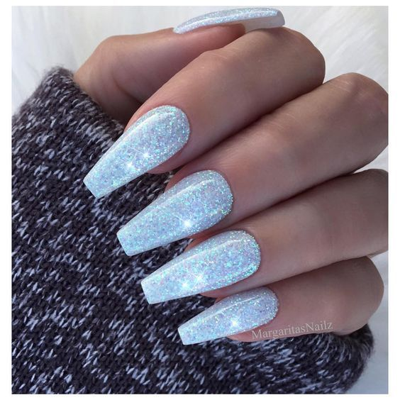 24 Stunning Glitter Nail Art Designs That You Will Love To Try Glitter Coffin Nails Glitter Acryli Nail Designs Glitter Blue Glitter Nails Blue Acrylic Nails
