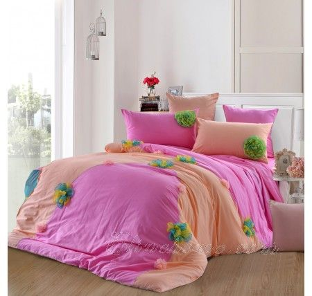 Pink Chiffon Girls Flower Ruffle Bedding With Images Girl Beds