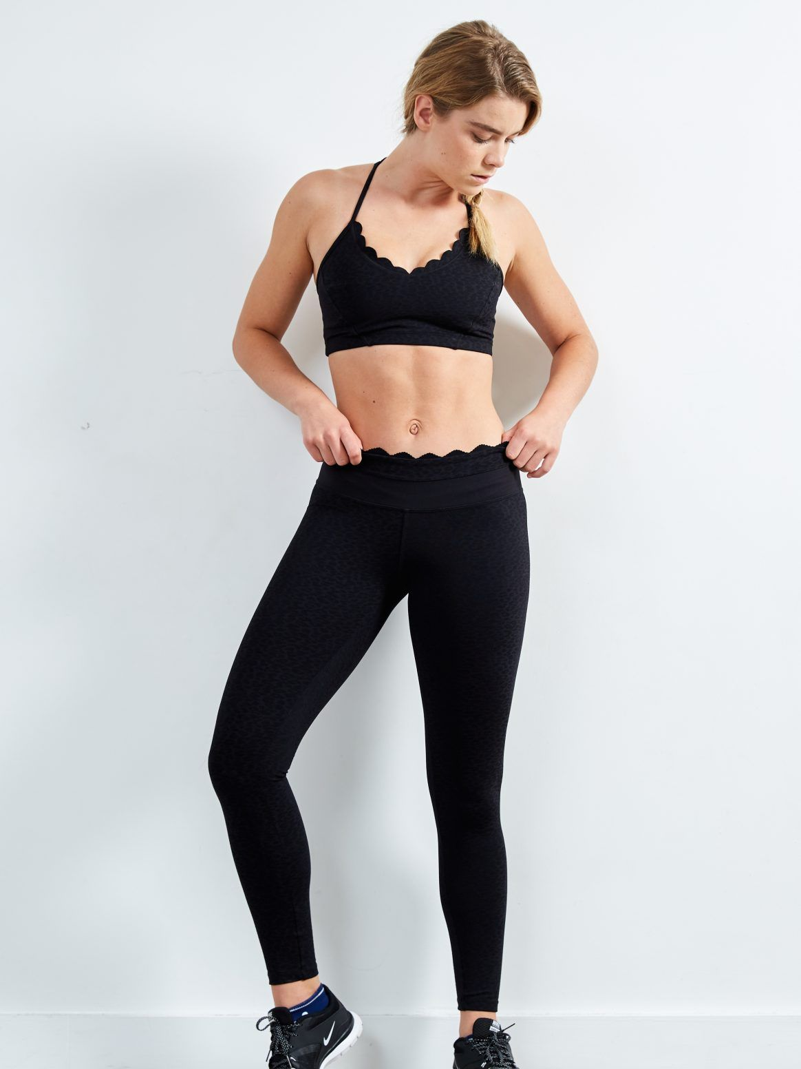 8704751976ba7 Track & Bliss Into The Moonlight Scalloped leggings with a subtle animal  print | Shop the latest activewear arrivals on Fashercise now! #Stylishlyfit