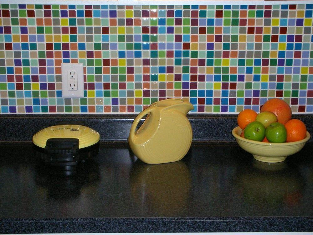 Multicolored Glass Tile Backsplash Google Search Tile Backsplash Kitchen Backsplash Photos Glass Tile