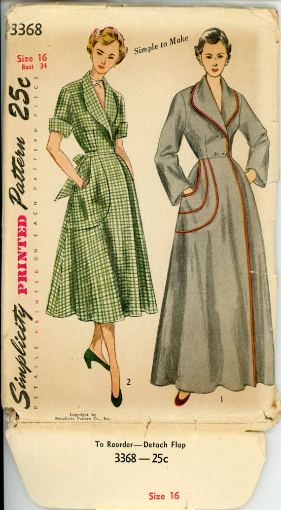 142651c303 Simplicity 3368 Misses 1950s Housecoat Pattern Brunch Coat Wrap Robe ...