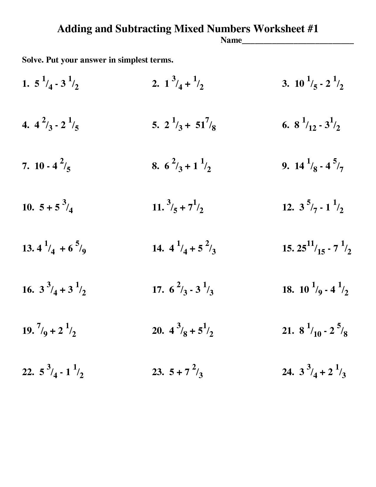 Adding Subtracting Multiplying Dividing Whole Numbers Worksheet Inspirationa Fractions D In 2021 Number Worksheets Negative Numbers Worksheet Multiplying Mixed Numbers