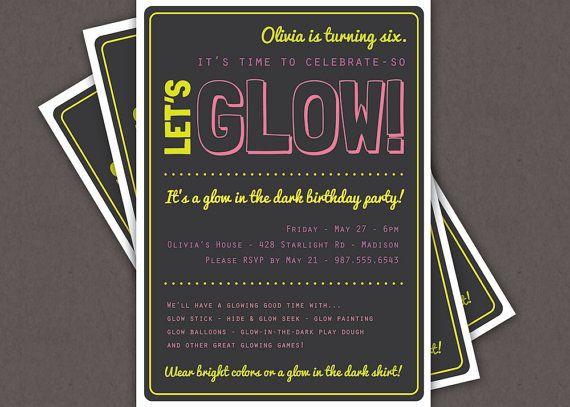 glow in the dark theme birthday party invitation custom printable, Party invitations