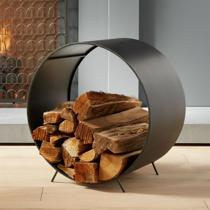 Chuck Round Log Holder Reviews Cb2 In 2020 Fireplace Accessories Firewood Holder Log Holder