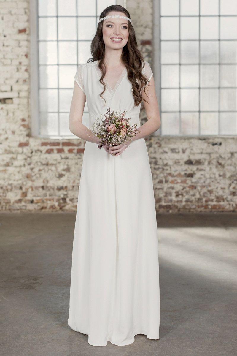 Labude - Brautkleid Claire Vintage Style, Boho, Seide, Tüll ...